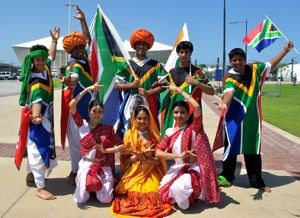 Dancers celebrate the 1860 arrival of Indians in Durban, South Africa. Source: examiner.com (http://www.examiner.com/article/song-and-dance-extravaganza-marks-150-years-of-indians-durban-slideshow)
